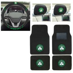 7pc NBA Boston Celtics Car Truck Floor Mats Steering Wheel C
