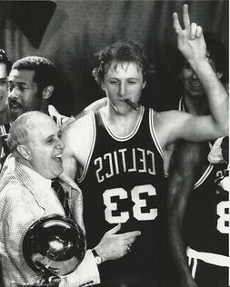 Basketball Boston Celtics Larry Bird Celebration Photo Pictu