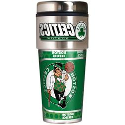 BOSTON CELTICS 16 OZ STAINLESS STEEL COFFEE TRAVEL MUG WITH