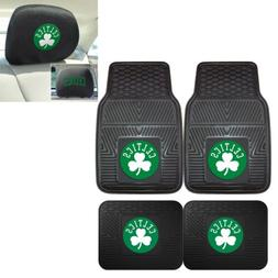 Boston Celtics 4 Piece Heavy Duty Car Mats and 2 Head Rest C