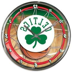 Boston Celtics Chrome Round Wall Clock  NBA Sign Banner Offi
