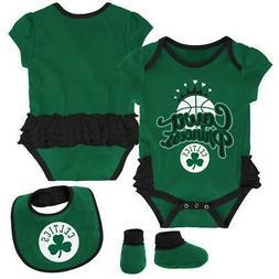 boston celtics creeper bib and bootie set