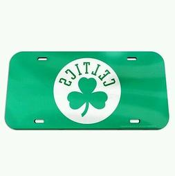 BOSTON CELTICS CRYSTAL MIRRORED CAR LICENSE PLATE NBA LICENS