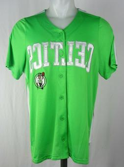 Boston Celtics Green Button Up STARTER Baseball Jersey NBA M
