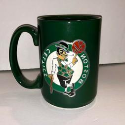 Boston Celtics Mug 15oz 3D Metal Emblem Logo Green Coffee NB