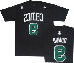 Boston Celtics Rajon Rondo Adidas Black Net HD Print T Shirt