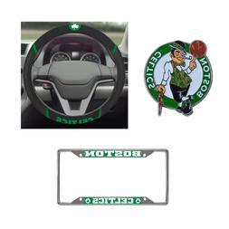 Boston Celtics Steering Wheel Cover, License Plate Frame, 3D
