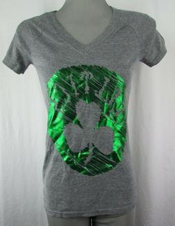 Boston Celtics Women's adidas Gray Foil Print V-Neck Short S