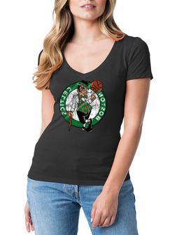 Boston Celtics NBA Women's V-Neck Black Distressed Logo Tee