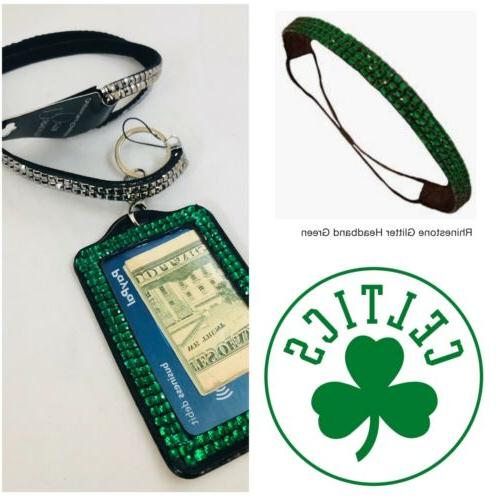 boston celtics color rhinestone fan pack