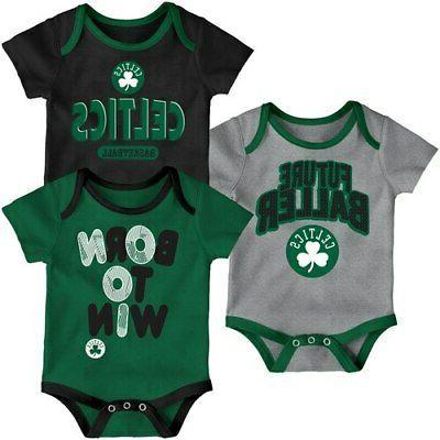 boston celtics newborn little fan three pack