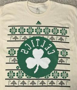 mens ADIDAS BOSTON CELTICS CHRISTMAS T-SHIRT ugly sweater pa