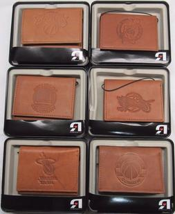 NBA Embossed Trifold Leather Wallet With Gift Box Select Tea