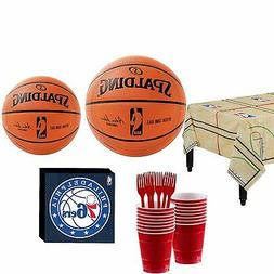 NBA Party Kit 16 Guests, Includes Table Cover, Plates and Mo