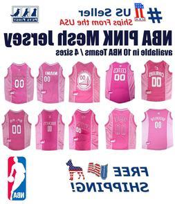 NBA Pink Pet Jersey. 10 Licensed Basketball Teams, 4 Sizes.