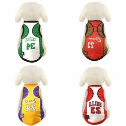 Pet Dog Cat Mesh Basketball Vest Clothes Apparel T Shirt Cos