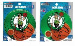 "TWO NBA ROUND VINYL  DECALS  BOSTON CELTICS  4.5"" DAMETER"