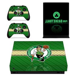 XBOX ONE X - Boston Celtics - Vinyl Protector Skin + 2 Contr